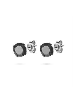 Oorbellen in edelstaal, zwarte steen