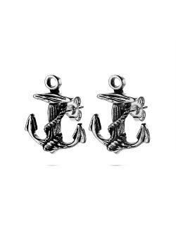 Boucles d'oreilles en acier poli, ancre