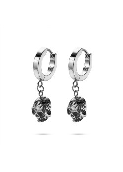 Stainless steel earrings hoop with hanging skull