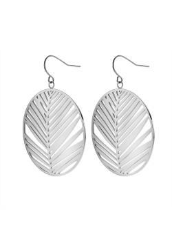 Stainless steel earrings, round leaf on hook
