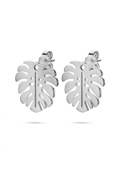 Stainless steel earrings, leaf