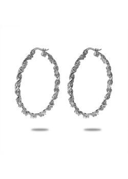 Oorbellen in edelstaal, oorring, gedraaid, 3,5 cm