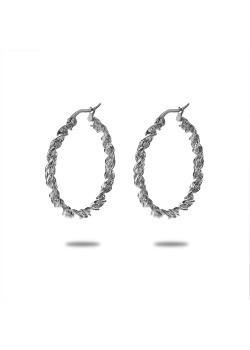 Oorbellen in edelstaal, oorring, gedraaid, 2,5 cm