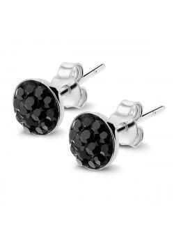 Silver earrings, round with black crystals