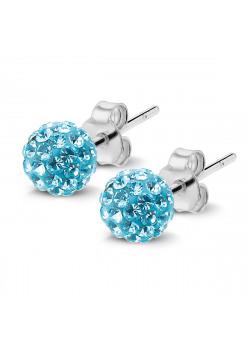Boucles d'oreilles en argent, motif boule de 6mm incrustée de cristaux turquoise