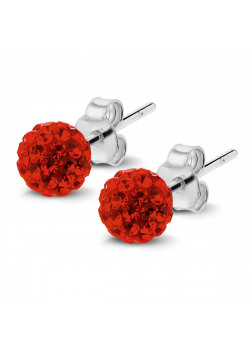 Silver earrings, ball, red crystals