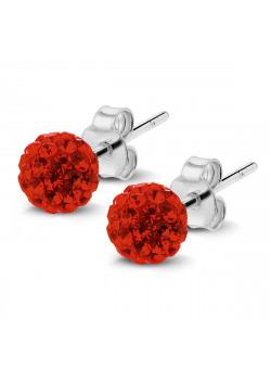 Boucles d'oreilles en argent, boule de 6mm incrustée de cristaux rouges