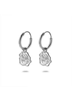 Silver earrings, hoop earring with rose