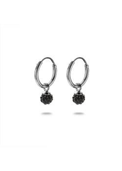 Oorbellen in zilver, oorring, zwart kristallen bolletje