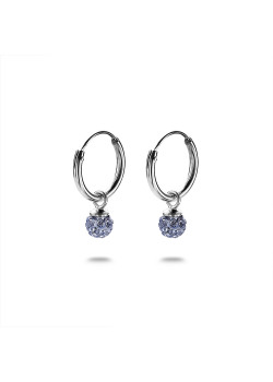 Oorbellen in zilver, oorring, blauw kristallen bolletje