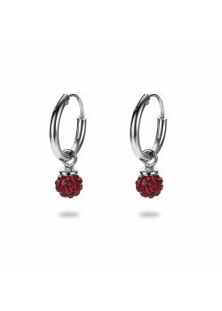 Oorbellen in zilver, oorring met rood kristallen bolletje