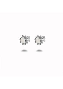 Oorbellen in zilver, zon, wit steentje