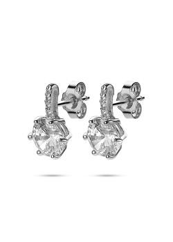Boucles d'oreilles en argent, zircon de 8 mm, barre en zircons