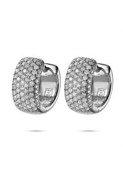 Silver earrings, hoop earring, 7 rows of zirconia