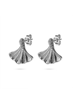 Silver earrings, gingko biloba leaf, zirconia