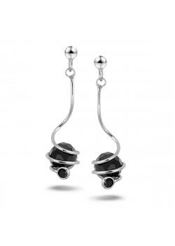 oorbellen in zilver, hangende onyx