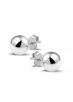 silver earrings, 8 mm ball