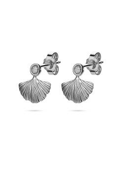 Silver earrings, gingko biloba leaf and zirconia