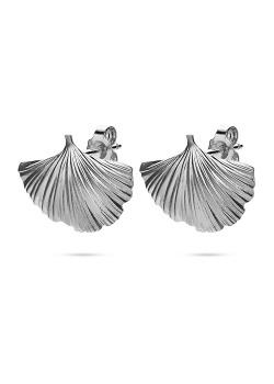 Silver earrings, large gingko biloba leaf