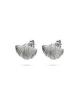 Silver earrings, Gingko biloba leaf