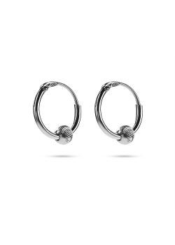 Boucles d'oreilles en argent, créole avec petite boule striée
