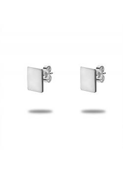 Oorbellen in zilver, rechthoek, 1 cm