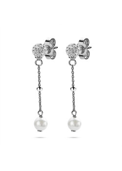 Silver earrings, sphere white crystals,  pearl on chain