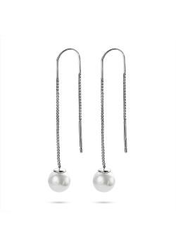 Silver earrings, pearl 8 mm, venetian chain