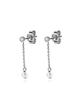 Silver earrings, 1 zirconia 4mm, necklace with pearl 4mm