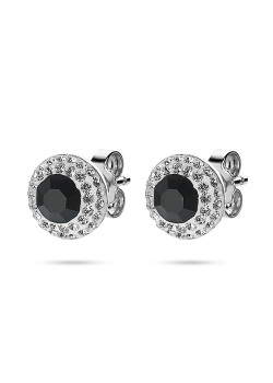 Silver earrings, round 10 mm, 1 large black crystal, small white crystals
