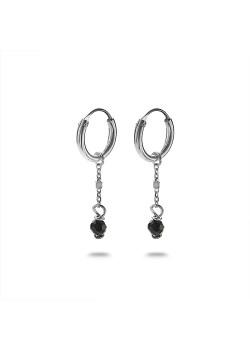 Oorbellen in zilver, oorring met zwart steentje