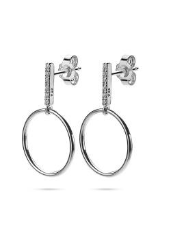 Boucles d'oreilles en argent, tige en zircons, cercle