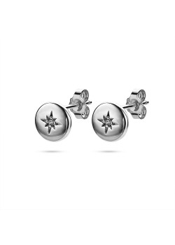 Silver earrings, small round with star and zirconia