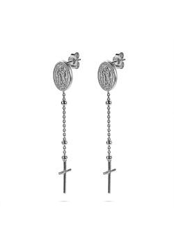 Silver earrings, oval coin, cross
