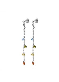 Boucles d'oreilles en argent, 4 cristaux multicolores