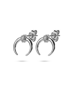Silver earrings, horn and zirconia