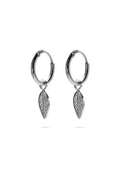 Silver earrings, hoop earring with small leaf