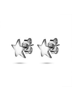 Oorbellen in zilver, ster van 9 mm