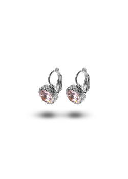 high fashion oorbellen, roze strass, 10 mm, zilverkleur