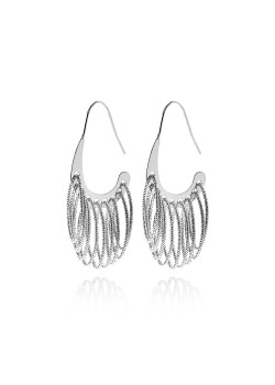 high fashion oorbellen, gehamerde hangende ovalen