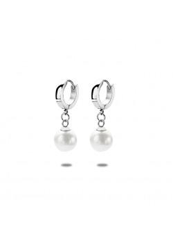 stainless steel hoop earrings, 10 mm pearl