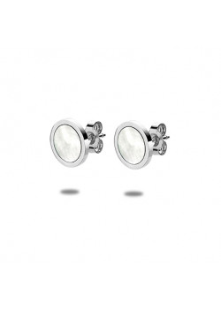 stainless steel earrings, mother of pearl round