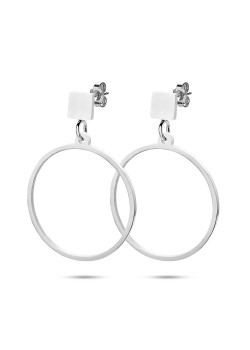 stainless steel earrings, circle and small square