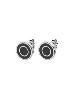 Stainless steel earrings, black round