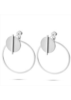Boucles d'oreilles en acier poli, cercle mat avec tige brillante, cercle ouvert 35 mm