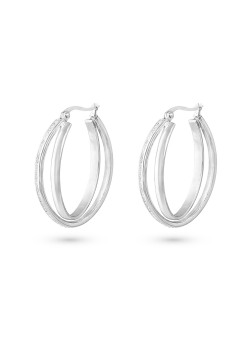 Stainless steel earrings, double oval hoops, grey crystals, 35 mm.