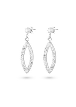 Stainless steel earrings, open ellipse, white crystals