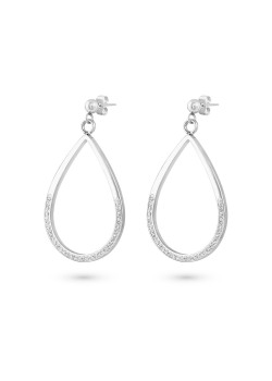 Stainless steel earrings, open drop, white crystals