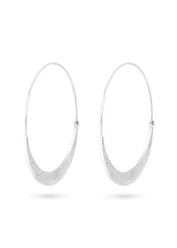 Stainless steel earrings, hammered hoop earring, 4 cm