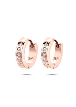 oorbellen in rosé edelstaal, creolen, kristallen